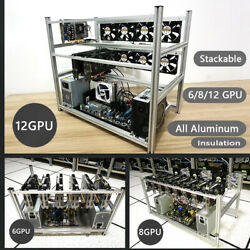 6 8 12 GPU Stackable Open Air Mining Case Computer Frame for BTC ETH Rig Bracket $145.00