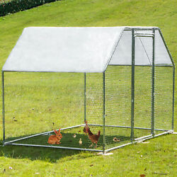 VEVOR Metal Chicken Coop Walk in Coop With Cover 9.5#x27; x 6.5#x27;Large Cage Flat Roof $279.98