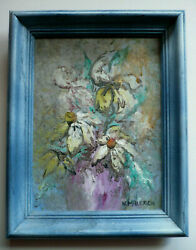NORMA MALERICH LISTED MODERN VINTAGE FLORAL FLOWERS PURPLE YELLOW OLD OIL $275.00