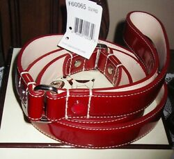 NEW COACH RED PATENT LEATHER DOG LEASH L LARGE FOR COACH DOG COLLARS RARE $134.99