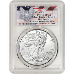 2021 W American Silver Eagle PCGS MS69 First Strike Red Flag Label $49.70