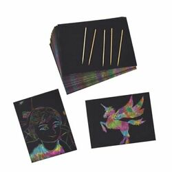 50 Rainbow Scratch Paper with Wooden Stylus Pens for Kids 8.25quot;x 11quot; $11.99