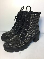 Madden Girl Dymond Womens Boots Size 6 Black Dymo 01 J1 Thick Rubber Sole Heel $59.95