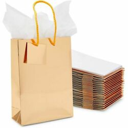 Gift Bag with Tissue Paper Gold 8 x 5.5 x 2.5 in 20 Pack $14.99