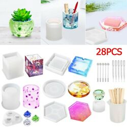 28PCS Silicone Resin Casting Molds Epoxy Spoon DIY Coaster Cup Pen Holder Making $12.99