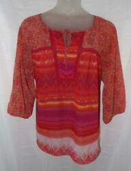 VALERIE STEVENS Colorful Plus 2X 18 20 Casual or Dress Sheer Pullover Shirt $18.00