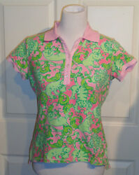 Pink and Green Novelty Animals Lilly Pulitzer Pullover Top Small $19.99