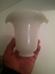 Murano White Swirl Lily Petal Glass Globes Trumpet Style Chandelier $7.00