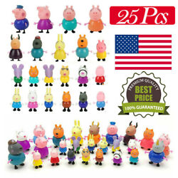 25 Pcs Peppa Pig Family amp; Friends Emily Rebecca Suzy Action Figure Toys Gift Set $18.88