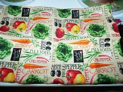 1 yd Pre Cut Novelty Food Quilt Fabric Fruits Vegetables Olive Carrot Peppers $11.49