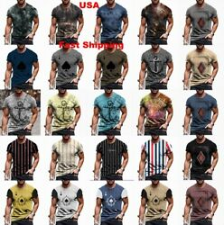 T Shirt Men Vintage Cool Graphic Print Active Wear Fitness Sport Soft Tee Shirts $18.86