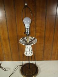 Vintage Mid Modern Atomic Era Ceramic and Brass Table Lamp $109.95