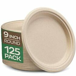100% Compostable 9 Inch Paper Plates 125 Pack Heavy Duty Plate Natural $17.36