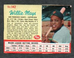 1962 Post Cereal #142 Willie Mays San Francisco Giants $14.90