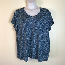 Xersion Plus Women#x27;s 3X Blue Space Knit Activewear V neck Stretch Top $14.00