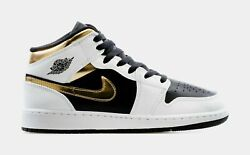 Air Jordan 1 Mid Gold Shadow Casual Basketball Shoe Youth Sizes 554725 190 GS $129.99