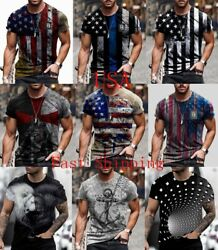 T Shirt Men USA Flag Graphic Tactical Patriotic Fitness Vintage Short Sleeve Tee $17.86