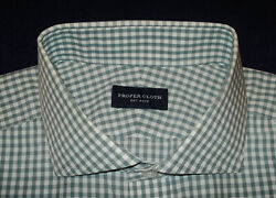 MEN#x27;S PROPER CLOTH CROSS STRIPED SHIRT 16.5 33.5quot; SHIRTS DESIGNER SHIRTS.