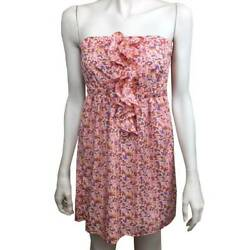 Womens Lush Small Ruffle Front Strapless Tunic Top S Lined Floral $12.99