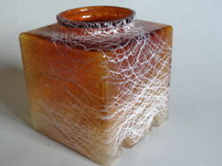 ANTIQUE SHADE LAMP CUBE GLASS AMBER webb williams Threaded Art Glass ENGLISH $150.00