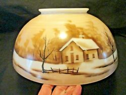 ANTIQUE 14quot; HANGING OIL LAMP SHADE HOUSE WRAP A AROUND SCENE $145.00