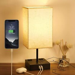 Touch Table Lamp for Bedroom with 2USB amp; 2AC PortsDimmable 3 Way Touch Control $37.99