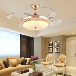 42quot;Gold Invisable Ceiling Fan Lamp Remote LED Crystal Lighting Luxury Chandelier $123.14