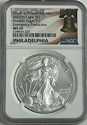 2021 P SILVER EAGLE NGC MS69 T 1 EMERGENCY PRODUCTION STRUCK AT PHILADELPHIA B $63.00