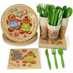 24 Set Christmas Party Disposable Dinnerware Boy Girl Gingerbread Cookie Design $14.99
