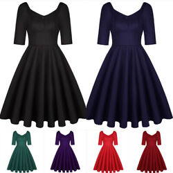 Women Solid Vintage A line Short Sleeve High Waist Wedding Party Formal Dress $23.99
