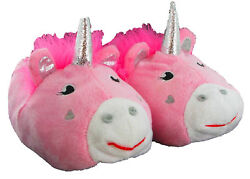 Unicorn Pink Novelty Girls Kids Comfy Warm Lovely Cosy Cute Animal Slippers $37.49