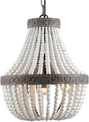 Bohemia Wood Beaded Chandelier Antique Rustic Pendant Light White Finishing $131.99