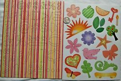 2 sheets chipboard stickers stripe punctuation marks bird flower sun orange key $2.10