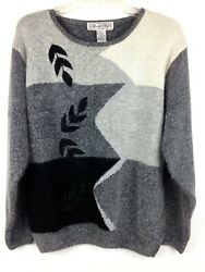 Vtg Private Party Women's Pullover Sweater Embellished Crew Neck Gray Sz L $16.80
