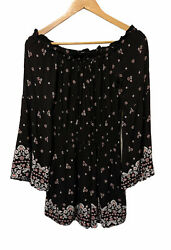 Kendall amp; Kylie Black Flower Print Romper With Bell Sleeves Size Medium
