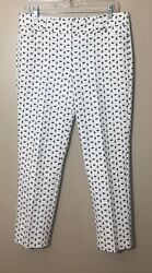 Ann Taylor Signature Ankle Pants White Pineapple Print Novelty Size 8 Petite $17.99
