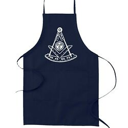 Past Master with Square amp; Protractor Masonic Cooking Kitchen Apron Navy $23.86