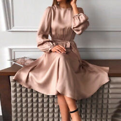 New Women Elegant Long Sleeve Round Neck Satin Holiday Shirt Dress Party Dresses $42.29