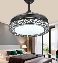 42quot; Retractable Blades Ceiling Fans with Light Remote Metal Cage LED Chandelier $177.58