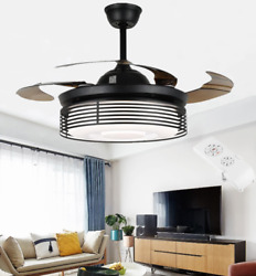 42quot; Modern Black Metal Hollow Chandelier Invisible LED Ceiling Fan Lamp W Remote $193.99
