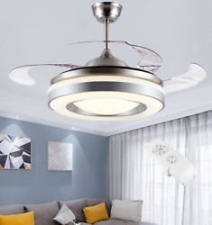 42quot; Retractable Blades Ceiling Fans with Light Remote Modern Home LED Chandelier $166.58