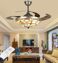 42quot; Retro Tiffany Remote Invisible Ceiling Fan Lamp Stained Glass LED Chandelier $209.98