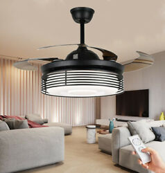 42quot; Led Ceiling Fan Light Black Metal Hollow Remote Retractable Chandelier Lamp $189.99
