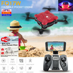 FQ17W Foldable Pocket Drone LED WIFI FPV Photo Video Gyro Quadcopter Helicopter $36.98