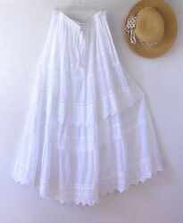 New $68 White Eyelet Lace Peasant Boho Tiered Cotton Dress Skirt Size Large L $48.95