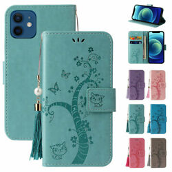 Emboss Cat W tassel Magnetic Wallet Case Cover For iPhone 7 8 11 12 Pro Max Cute $9.19