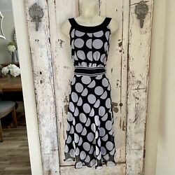 Voir Voir Size 10 Woman#x27;s Black Gray Polka Dot Sleeveless Career Party Dress $19.95