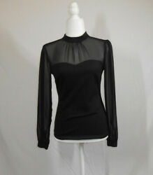 Forever 21 Black Women#x27;s Top Blouse Sheer Sleeves Size Medium Small $11.00