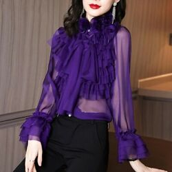 Womens Trendy Sheer Ruffles Bow Long Sleeves Shirt Mock Neck Casual Chiffon Tops $34.11