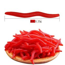 100pcs Soft Fishing lure Red Worms Life like Fishing smell Bait salt fresh water $3.99